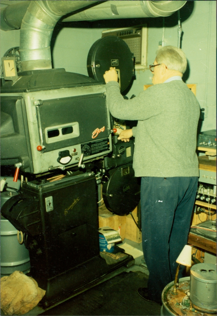 William Beck operating the projectors in the 1970