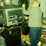 William Beck operating the projectors in the 1970's.