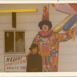 Characters roamed the grounds before the movies began.  The man selling tickets in Dale Beck, William and Alice's son.  The boy posing with the clown is Brian Beck, Dale's son.