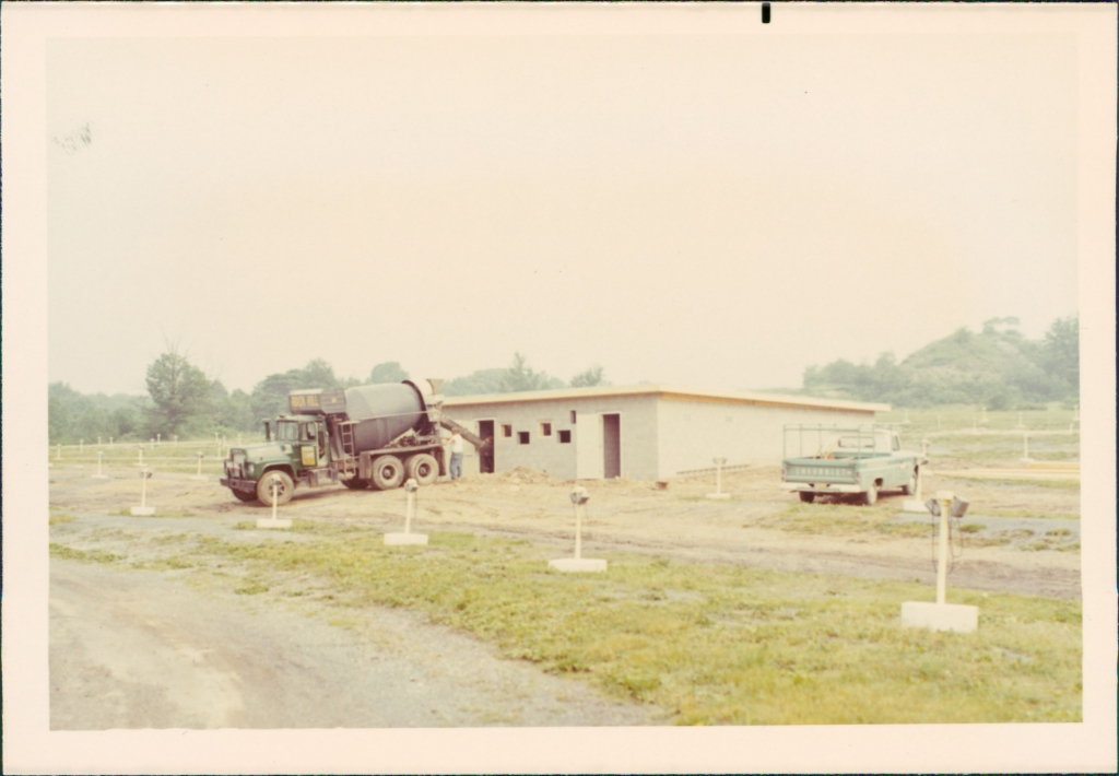 "Construction of refreshment stand, 1971.  This structure is now our ""Snack Shack"", service funnel cakes and other goodies."