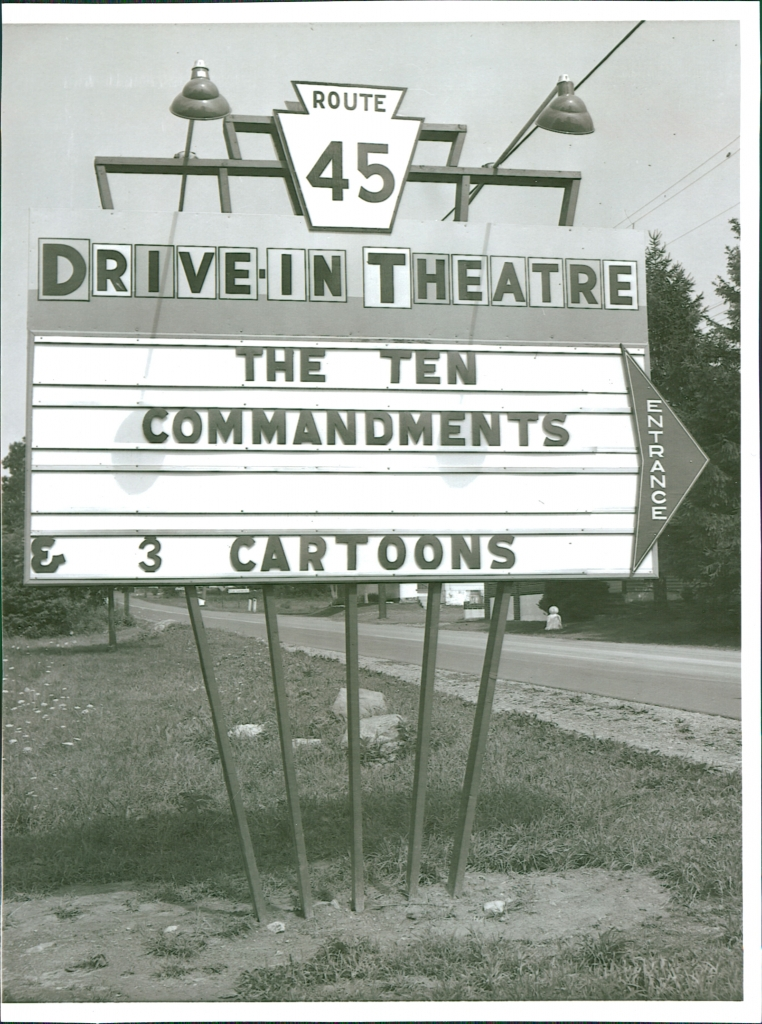 "Entrance marquee, showing ""The Ten Commandments"", late 1950"
