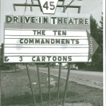 "Entrance marquee, showing ""The Ten Commandments"", late 1950's."